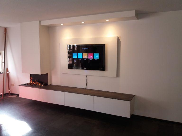 Zwevend TV meubel met electrische haard